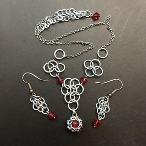 Chain mail necklace and earrings set